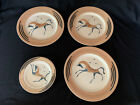 Rare Clarice Cliff - Bizarre set of 4 Plates by John Armstrong CHEVAUX CHALDEAN