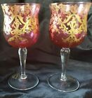 ANTIQUE MOSER CRANBERRY HAND PAINTED GOLD ENCRUSTED CRYSTAL WINE GLASSES W MONO