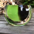 Large Heavy Vintage Green Brown  Clear Sommerso Design Art Glass Vase