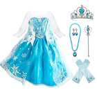 Frozen Elsa Dress Up Costume With Cosplay Accessories Crown Wand  Gloves