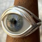 Size 75 Blown glass vintage blue eye set in a sterling silver ring