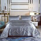 Luxury Soft Silky Satin Comforter Set Quilted Duvet with Matching Twin Grey