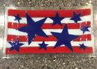 Peggy Karr Glass Large Serving Tray Stars  Stripes Patriotic