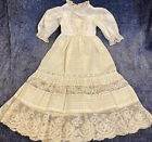 Antique Fancy Cotton Dress Or Gown For French Or German Bisque Doll