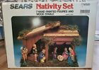 Vintage Nativity Set with 7 Hand Painted Figures and Wooden Stable SEARS 97581