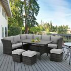U MAX 7 Pieces Outdoor Furniture Set Patio Wicker Rattan Sectional Sofa w Table