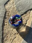 SIGNED BLUE  MULTI COLORED ART GLASS MARBLE BY DOUGLAS SWEET 225