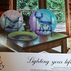 Liffy Hand Painted Glass Plates decorative and cooking safe 3 plates in set