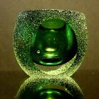 Sommerso Green glass bowl or votive holder Textured panels very thick