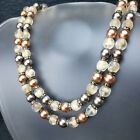 VTG Carnegie Double Necklace Mixed Faux Pearl Tan Givre Glass Rhinestone Spacers