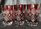 Vintage 3 Ruby Red Cut to Clear Bohemian Czech Crystal Glass Tumbler MINT