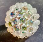 Peter Boyle frosted Marble boro glass hobnail 1 1 2 multi color Sand blasted