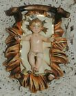 VINTAGE NATIVITY BABY JESUS IN MANGER ITALY COMPOSITION LARGE 5 1 2