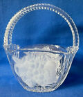 Teneriffa Crystal Clear Glass Basket w Handle  Frosted Fruit Design Candy Dish
