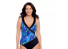 Great Length Women One Piece Swimsuit Tummy Control Blue Black Size 20 MSRP 75