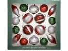 NEW Hand Decorated Glass Ornaments Red Green 18 piece FREE FAST SHIPPING