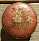 Vintage Solid Brass India Enamel Floral Round Embossed Container Jewelry Trinket