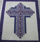 Quilt Top Patchwork Log Cabin Cross PIECED Purple Floral Baby Wall Lap 54X64 USA