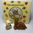 Fenton Thanksgiving Holiday Parade Signed Deer squirrel set QVC C03570 Retired