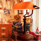 UK Plug Matted Dull Glass Shade Banker Desk Lamp Table Light Pull Chain Switch