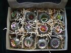 Vintage Inspired Christmas Tree Ornaments Indents Witch Eye Colors Glitter Glass