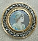 STUNNING 19TH CENTURY BUTTON OF PRETTY MAIDEN HAND PAINTED ON IVORY UNDER GLASS