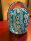 Vintage Large Blue Millefiori Glass Paperweight 35 high 225 wide