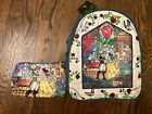 Loungefly NWT Disney Beauty  Beast Stained Glass Mini Backpack  GUC Coin Purse