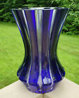Faberge Parallele Cobalt Blue Cut to Clear Lead Crystal Signed Flared Glass Vase