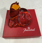 Baccarat Crystal Cat Paperweight Rare Orange Amber Color 45 X 375 X 3 high