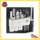 Wall Mounted Toothbrush Holder Automatic Toothpaste Dispenser Kit With Cover New