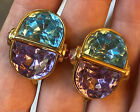 Vintage Rare Trifari Blue Purple  Pink Glass Lucite Clip Earrings Gold Plated