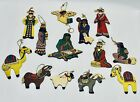 Fantastic Vintage Flat Wooden Hand Painted Nativity Scene Christmas Ornaments