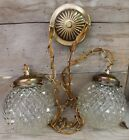 Vintage Hanging Double Swag Light Fixture Clear Cut Glass Globes Mid Century