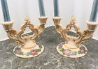 Cambridge Crown Tuscan Charleton Hand Decorated Candle Holders Pink with Roses