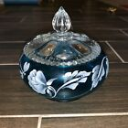 Fenton Art Glass Candy Dish signed Randy Fenton Teal With Clear Lid