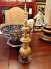 Vintage Gold Overlay Glass Christmas Tree 15 Finial Tabletop Mantle Topper