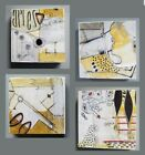 Four 4  MiTaK Art Signed Original Abstract Mixed Media Collage Paper Brown