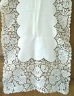 ANTIQUE ELABORATE WHITE SCHIFFLI LACE 50 TABLE RUNNER STYLIZED FLOWERS PATTERN