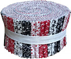 Red Black  White Collection Jelly Roll 40 Precut 25 inch Quilting Fabric