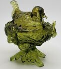 Westmoreland Glass Olive Green Robin On Twig Nest 6T Lidded Candy Nut Dish