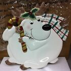 Fitz and Floyd Plaid Christmas Deer Canape Plate NEW Holidays Collectible Pretty