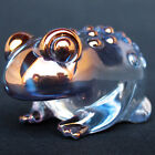Toad Figurine Frog Sculpture of Hand Blown Glass Gold