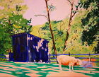 177 -  AUTHENTIC OIL PAINTING by Ezi Algazi - Sheep next to the  Barn - 16X20