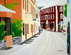 142 - AUTHENTIC OIL PAINTING by Ezi - view from the street Tucker House Bermuda