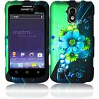 For ZTE Force N9100 Rubberized HARD Protector Case Phone Cover Blue Green Flower