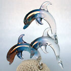 Dolphin Coral Figurine Blown Glass Crystal