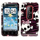 For Sprint HTC EVO 3D Protector HARD Case Snap on Phone Cover Purple Skulls