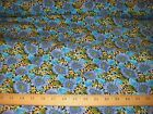 BLUE SUNFLOWER RAYON CHALLIS FABRIC 58 WIDE BTY
