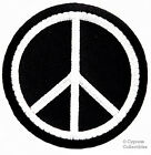PEACE SIGN iron on patch WOODSTOCK SUMMER OF LOVE black EMBROIDERED APPLIQUE